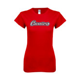 Next Level Ladies SoftStyle Junior Fitted Red Tee-Cavaliers Script