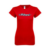 Next Level Ladies SoftStyle Junior Fitted Red Tee-St. Gregorys w/ Sword