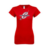 Next Level Ladies SoftStyle Junior Fitted Red Tee-St. Gregorys w/ C