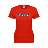 Ladies Red T Shirt-St. Gregorys w/ Sword