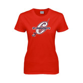 Ladies Red T Shirt-St. Gregorys w/ C