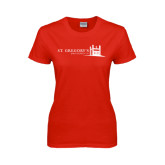 Ladies Red T Shirt-University Mark