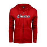 ENZA Ladies Red Fleece Full Zip Hoodie-Cavaliers Script
