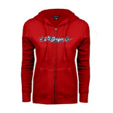 ENZA Ladies Red Fleece Full Zip Hoodie-St. Gregorys w/ Sword