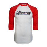 White/Red Raglan Baseball T-Shirt-Cavaliers Script