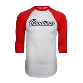 White/Red Raglan Baseball T-Shirt-Cavaliers Script