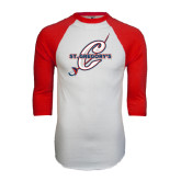 White/Red Raglan Baseball T-Shirt-St. Gregorys w/ C