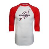 White/Red Raglan Baseball T-Shirt-St. Gregorys w/ C