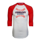 White/Red Raglan Baseball T-Shirt-Cavaliers Baseball Seams
