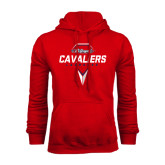 Red Fleece Hood-Cavaliers Lacrosse Abstract Stick Head