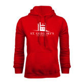 Red Fleece Hood-University Mark Stacked