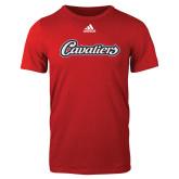 Adidas Red Logo T Shirt-Cavaliers Script
