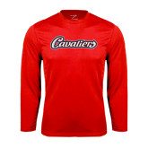 Syntrel Performance Red Longsleeve Shirt-Cavaliers Script