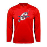 Performance Red Longsleeve Shirt-St. Gregorys w/ C