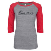 ENZA Ladies Athletic Heather/Red Vintage Triblend Baseball Tee-Cavaliers Script Graphite Glitter