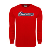 Red Long Sleeve T Shirt-Cavaliers Script