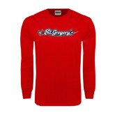 Red Long Sleeve T Shirt-St. Gregorys w/ Sword