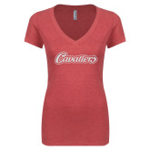 Next Level Ladies Vintage Red Tri Blend V-Neck Tee-Cavaliers Script White Soft Glitter