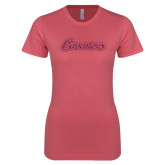 Next Level Ladies SoftStyle Junior Fitted Pink Tee-Cavaliers Script Pink Glitter