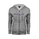 ENZA Ladies Grey Fleece Full Zip Hoodie-St. Gregorys w/ Sword