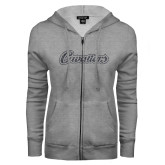 ENZA Ladies Grey Fleece Full Zip Hoodie-Cavaliers Script Graphite Glitter