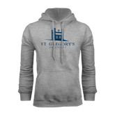 Grey Fleece Hood-University Mark Stacked
