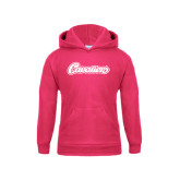Youth Raspberry Fleece Hoodie-Cavaliers Script