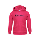 Youth Raspberry Fleece Hoodie-Cavaliers Script Foil
