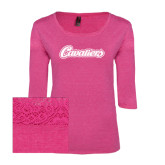 Ladies Dark Fuchsia Heather Tri Blend Lace 3/4 Sleeve Tee-Cavaliers Script