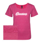 Ladies Dark Fuchsia Heather Tri-Blend Lace Tee-Cavaliers Script
