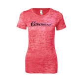 Next Level Ladies Junior Fit Fuchsia Burnout Tee-Cavaliers Script Foil