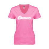 Next Level Ladies Junior Fit Deep V Pink Tee-Cavaliers Script