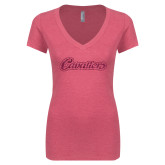 Next Level Ladies Vintage Pink Tri Blend V-Neck Tee-Cavaliers Script Hot Pink Glitter