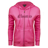 ENZA Ladies Fuchsia Fleece Full Zip Hoodie-Cavaliers Script Hot Pink Glitter