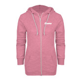 ENZA Ladies Hot Pink Marled Full Zip Hoodie-Cavaliers Script