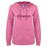 ENZA Ladies Hot Pink V Notch Raw Edge Fleece Hoodie-Cavaliers Script Hot Pink Glitter