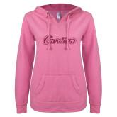 ENZA Ladies Hot Pink V Notch Raw Edge Fleece Hoodie-Cavaliers Script Hot Pink Glitter