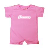 Bubble Gum Pink Infant Romper-Cavaliers Script