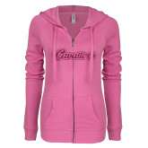 ENZA Ladies Hot Pink Light Weight Fleece Full Zip Hoodie-Cavaliers Script Hot Pink Glitter