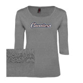 Ladies Charcoal Heather Tri Blend Lace 3/4 Sleeve Tee-Cavaliers Script