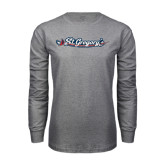 Grey Long Sleeve T Shirt-St. Gregorys w/ Sword