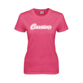 Ladies Fuchsia T Shirt-Cavaliers Script