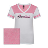 Ladies White/Bright Pink Juniors Varsity V Neck Tee-Cavaliers Script Foil