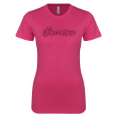 Ladies SoftStyle Junior Fitted Fuchsia Tee-Cavaliers Script Hot Pink Glitter