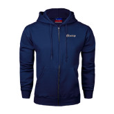 Navy Fleece Full Zip Hood-Cavaliers Script