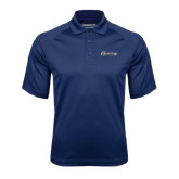 Navy Textured Saddle Shoulder Polo-Cavaliers Script