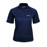Ladies Navy Textured Saddle Shoulder Polo-Cavaliers Script
