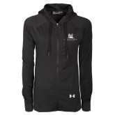 Ladies Under Armour Black Varsity Full Zip Hoodie-University Mark Stacked
