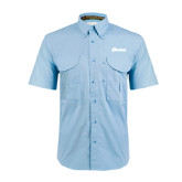 Light Blue Short Sleeve Performance Fishing Shirt-Cavaliers Script