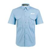 Light Blue Short Sleeve Performance Fishing Shirt-Cavaliers Script